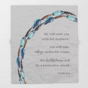 Psalm 91:4 Blanket