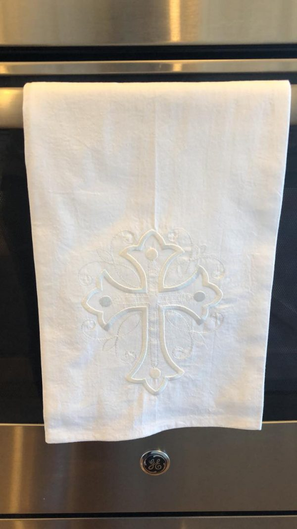 white cross tea towel